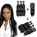 זול תוספות שיער בגוון טבעי-3 חבילות עם סגירה שיער ברזיאלי ישר שיער בתולי טווה שיער אדם שוזרת שיער אנושי תוספות שיער אדם
