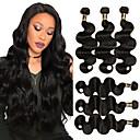 זול תוספות שיער בגוון טבעי-4 חבילות שיער ברזיאלי Body Wave שיער בתולי טווה שיער אדם שוזרת שיער אנושי תוספות שיער אדם