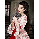 cheap Historical & Vintage Costumes-Vintage Rococo Victorian Costume Women's Dress Party Costume Masquerade Ball Gown Red Vintage Cosplay Lace Satin Cotton Long Sleeve Poet Sleeve Long Length Halloween Costumes / Floral