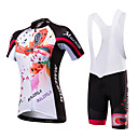 cheap Cycling Jersey & Shorts / Pants Sets-Malciklo Women's Short Sleeve Cycling Jersey with Bib Shorts - Black / White / Black / Red Bike Clothing Suit, Breathable, Quick Dry, Anatomic Design, Ultraviolet Resistant, Reflective Strips