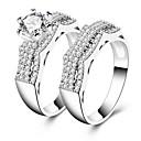 cheap Rings-Women's Cubic Zirconia Band Ring - Silver Vintage, Elegant 7 / 8 / 9 For Wedding Engagement Ceremony / 2pcs