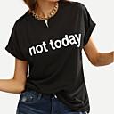 baratos Perucas Sintéticas sem Touca-Mulheres Camiseta Letra Solto / Verão