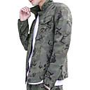 זול גברים-ג'קטים ומעילים-קולור בלוק להסוות צווארון חולצה סגנון רחוב ג'קט - בגדי ריקוד גברים