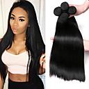זול Others-4 חבילות שיער ברזיאלי ישר שיער בתולי טווה שיער אדם שוזרת שיער אנושי תוספות שיער אדם