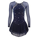cheap Ice Skating Dresses , Pants & Jackets-Figure Skating Dress Women's Girls' Ice Skating Dress Dark Blue Spandex Rhinestone Sequin High Elasticity Performance Skating Wear Quick