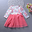 cheap Girls' Dresses-Girl's Daily Going out Solid Floral Dress, Rayon Spring Summer Long Sleeves Cute Boho Red