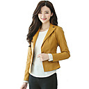 cheap Sensors-Women's Work Leather Jacket - Solid Colored Shirt Collar