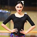 זול הלבשה לריקודים לטיניים-ריקוד לטיני חולצות בגדי ריקוד נשים הצגה כותנה צורני סלסולים חצי שרוול עליון