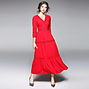 cheap Women's Sandals-Women's Cotton Slim Sheath Dress - Solid Colored Basic Maxi V Neck