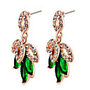 cheap Earrings-Women's Crystal / Cubic Zirconia Drop Earrings - Crystal, Zircon, Gold Plated Clover Classic, Fashion, Elegant Green For Party / Evening / Office & Career