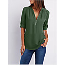 cheap Athletic Swimwear-Women's Going out Basic Loose Blouse - Solid Colored V Neck / Summer