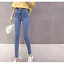abordables Relojes de Moda-Mujer Tallas Grandes Alta cintura Vaqueros Pantalones - Un Color