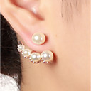 cheap Earrings-Women's Pearl Stud Earrings / Front Back Earrings / Ear Jacket - Imitation Pearl Vintage, Fashion Gold / Silver / Rose Gold For Daily / Work