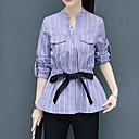 זול נורות לד שקועות-פסים צווארון V סגנון רחוב עבודה חולצה-בגדי ריקוד נשים
