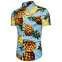 billige Herreringer-Bomull Klassisk krage Skjorte Herre - Frukt Ananas / Kortermet