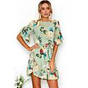 cheap Wall Stickers-Women's Beach Going out Boho Flare Sleeve Dress - Floral Ruffle Print Mini
