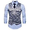 cheap Pins and Brooches-Men's Business Casual Vest-Solid Colored Floral Print / Sleeveless / Work