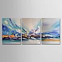 halpa Tulosteet-Hang-Painted öljymaalaus Maalattu - Abstrakti Moderni Sisällytä Inner Frame / 3 paneeli / Venytetty kangas