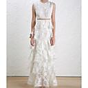 זול כיסויים גיאומטריים-לבן מותניים גבוהים מקסי צבע אחיד - שמלה נדן בסיסי בגדי ריקוד נשים
