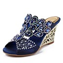 cheap Women's Sandals-Women's Shoes Polyurethane Spring / Summer Fashion Boots Sandals Wedge Heel Peep Toe Rhinestone / Crystal / Sparkling Glitter Dark Blue /
