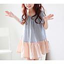 זול שמלות לבנות-שמלה פוליאסטר קיץ שרוולים קצרים יומי קולור בלוק הילדה של חמוד כחול בהיר