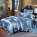 cheap Duvet Covers-Duvet Cover Sets Floral Luxury 4 Piece Silk/Cotton Blend Jacquard Silk/Cotton Blend 1pc Duvet Cover 2pcs Shams 1pc Flat Sheet