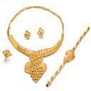 זול סטים של תכשיטים-בגדי ריקוד נשים סט תכשיטים - ציפוי זהב הצהרה, אופנתי לִכלוֹל זהב עבור חתונה Party / עגילים