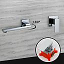 זול ברזים לחדר האמבטיה-עכשווי מותקן על הקיר נפוץ ניתן לסיבוב שסתום קרמי שני חורי ידית אחת כרום, חדר רחצה כיור ברז