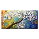 זול ציורים מופשטים-ציור שמן צבוע-Hang מצויר ביד - מופשט פרחוני / בוטני עכשווי מודרני בַּד