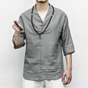 cheap Smartwatches-Men's Chinoiserie Linen T-shirt - Solid Colored V Neck