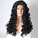 halpa Synteettiset peruukit verkolla-Synteettiset pitsireunan peruukit Kihara Tyyli Kerroksittainen leikkaus Lace Front Peruukki Musta Musta Synteettiset hiukset Naisten Heat Resistant Musta Peruukki Pitkä Luonnollinen peruukki / Kyllä