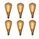 abordables Bombillas Incandescentes-6pcs 40W E14 ST48 Blanco Cálido 2200-2700 K Retro Regulable Decorativa Bombilla incandescente Vintage Edison 220-240V V