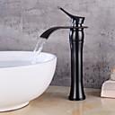preiswerte Badarmaturen-Moderne Mittellage Keramisches Ventil Einhand Ein Loch Öl-riebe Bronze Korrektur Artikel Schwarz, Waschbecken Wasserhahn