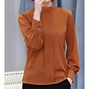 preiswerte Halsketten-Damen Solide - Grundlegend Bluse, Ständer Druck Puff Ärmel