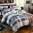 cheap Geometric Duvet Covers-Duvet Cover Sets Grid / Plaid Patterns Poly / Cotton 100% Cotton Reactive Print 3 Piece