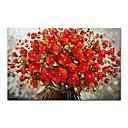 abordables Óleos-Pintura al óleo pintada a colgar Pintada a mano - Abstracto Floral / Botánico Contemporáneo Modern Lona