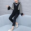 זול סטים של ביגוד לבנות-סט של בגדים חוטי זהורית אביב סתיו שרוול ארוך יומי פסים טלאים בנות יום יומי שחור