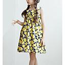 זול שמלות לבנות-שמלה פוליאסטר קיץ ללא שרוולים יומי פרחוני הילדה של פשוט בז' צהוב