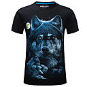 cheap Indoor IP Network Cameras-Men's Street chic T-shirt - Animal Wolf, Print Round Neck / Short Sleeve