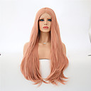 cheap Synthetic Lace Wigs-Synthetic Lace Front Wig Women's Natural Wave Pink Synthetic Hair Natural Hairline Pink Wig Long Lace Front Orange