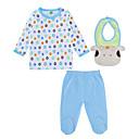 זול אוברולים טריים לתינוקות לבנים-תִינוֹק סט של בגדים כותנה אביב סתיו שרוול ארוך יומי מנוקד יוניסקס פעיל כחול בהיר