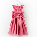 tanie Sukienki dla dziewczynek-Dzieci Dla dziewczynek Prosty Codzienny Solidne kolory Bez rękawów Poliester Sukienka Rumiany róż