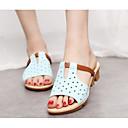 hesapli Araba Şarj Aletleri-Kadın's Ayakkabı PU Bahar / Sonbahar Rahat Sandaletler Düz Taban için Beyaz / Siyah / Açık Mavi