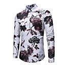 cheap Men's Slip-ons & Loafers-Men's Active / Street chic Cotton Shirt - Floral Print / Long Sleeve