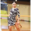 preiswerte Latein Schuhe-Latein-Tanz Kleider Damen Leistung Eis-Seide Muster / Druck Schärpe / Band Geschlitzt Halbe Ärmel Kleid