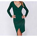 זול מפיגי מתח-מותניים גבוהים מעל הברך מפוצל, אחיד - שמלה נדן רזה ליציאה בגדי ריקוד נשים / סקסית