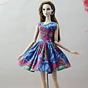hesapli Barbie İçin Kıyafetler-Elbiseler Elbiseler İçin Barbie Bebek Kırmızı / Mavi Poli/Pamuk Keten / Polyester Karışımı Elbise İçin Kız Oyuncak bebek
