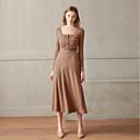 preiswerte Parykopfbedeckungen-Damen Retro Baumwolle Schlank Hülle Kleid - Gerüscht, Solide Midi Quadratischer Ausschnitt Hohe Taillenlinie