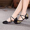 cheap Latin Shoes-Women's Modern Shoes Paillette / Satin Heel Customized Heel Customizable Dance Shoes Fuchsia / Black / Gold / Red / Indoor