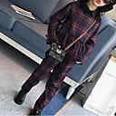 tanie Zestawy ubrań dla dziewczynek-Dzieci Dla dziewczynek Kratka Kratka / Patchwork Długi rękaw Komplet odzieży